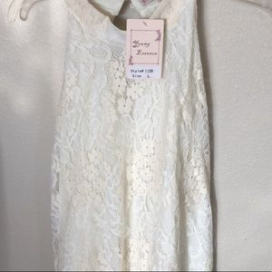 Young Essence cream dress size large NWT!